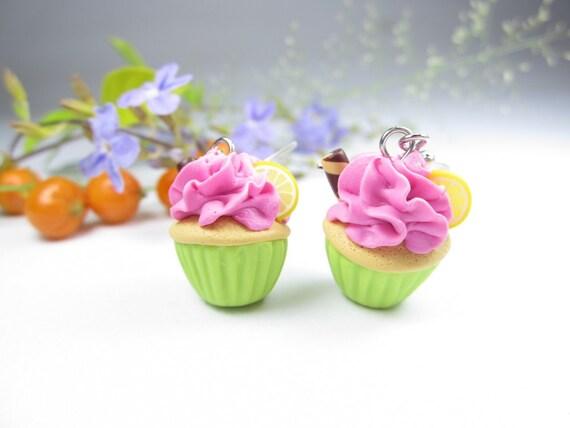 Lemon Cupcake Earrings, cupcake jewelry, food earrings, food jewelry, lemon earrings, food gift, miniature food charm, polymer clay pink