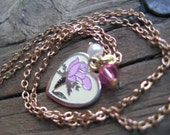 RESERVED for Pricilla- Childrens Pink Flower Heart Necklace