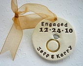 Personalized Engagement Ornament for the soon to be Bride and Groom - Custom Made to Order