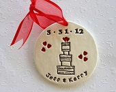 Personalized Whimsical Wedding Cake Bride and Groom Ornament for Wedding, Engagement or Anniversary - Custom Made to Order