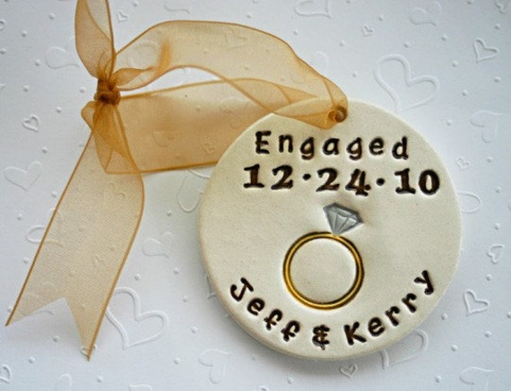 Wedding Gift Ornaments: Personalized Engagement Ring Ornament For The By