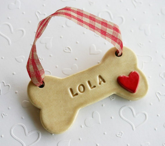 Personalized dog bone ornament with 3d heart by for Dog bone ornaments craft