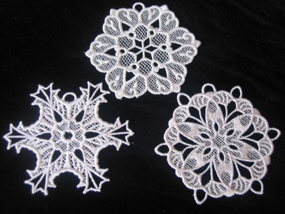 Set of Three Free Standing Lace Snowflake Ornaments