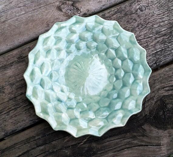 Diamond parakeet green ceramic plate or platter