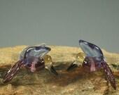 Lampwork GlassLavender Blue Light Amber  Bird Hummingbird Beads