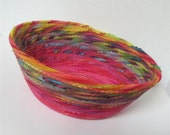 Large Rainbow Bowl-- Yellow and Fuschia on the Bottom