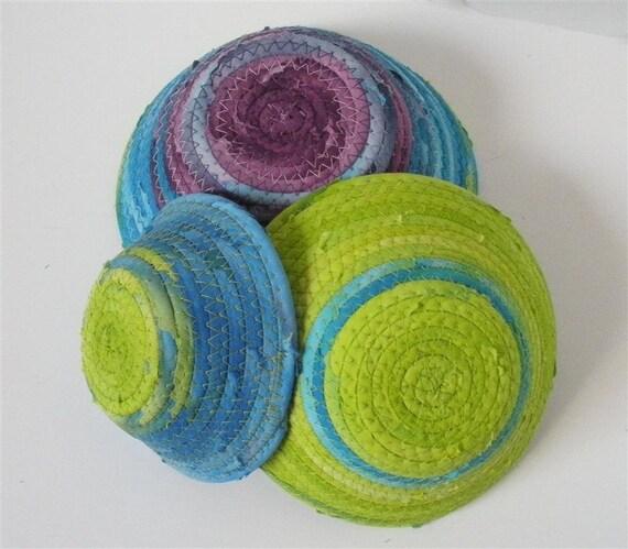 Blue Green & Purple Bowls- Smaller Set of 3