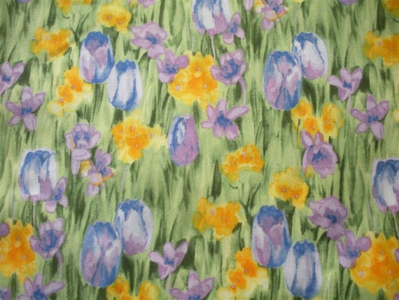 Painted Petals Fabric-- TWO yards