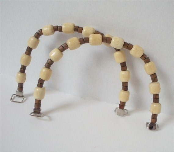 Brown and Ivory Purse Handles- Set of 2