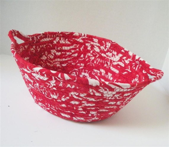 Cherry and White Bowl with Handles