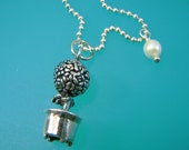 Vintage Rose Garden Topiary Charm Pendant Sterling Silver