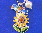 Whimsy Blue Bird Sunflower Charm Pendant - Enamel on Sterling Silver - Vintage