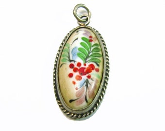 Vintage Berry on Porcelain Pendant - Hand Painted