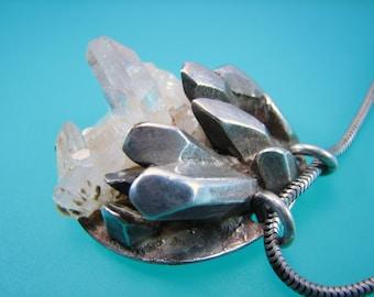 """Sterling Silver Quartz Crystal """"Master Healer"""" Necklace Vintage"""