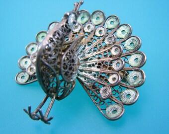 Enamel and Silver Filigree Peacock Brooch Vintage