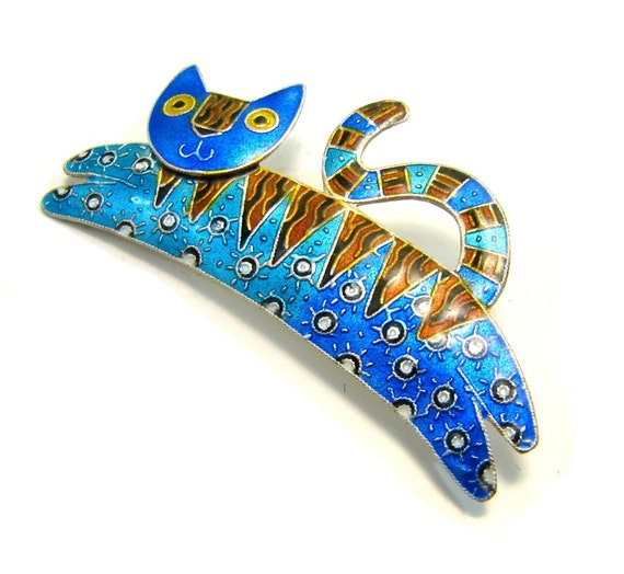 The Cat Jumped over the Moon Pin - Vintage Enamel over Sterling