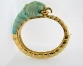 Unique Vintage Kenneth Lane Asian Jade Tiger Bracelet