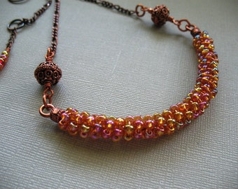 Tequila Sunrise a Bead and Copper Necklace