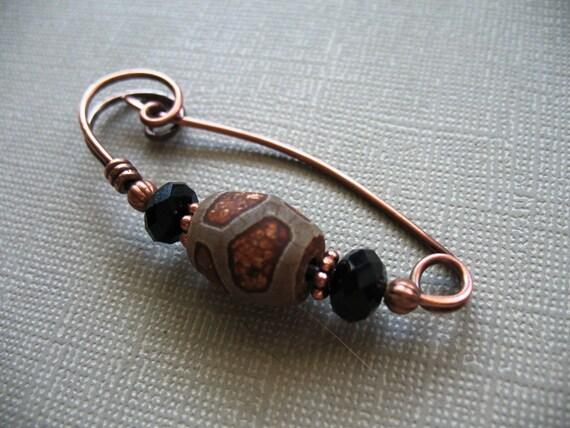 Rustic Twist Copper Scarf Pin - Sweater Pin - Hat Pin - Shawl Pin