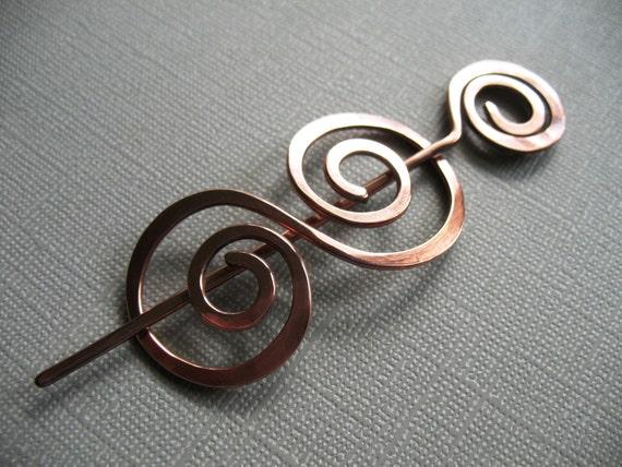 A Big Twist Series Copper Scarf Pin - Shawl Pin - Sweater Pin - Closure