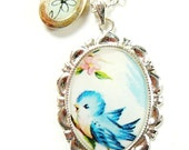 Blue bird in the cherry blossom tree necklace