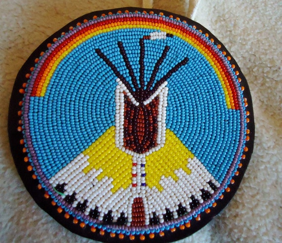 Teepee Rosette, TINY beads, PowWow Regalia