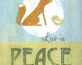 Live in Peace - retro sign art print