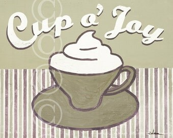Cup o' Joy - coffee cup art print in neutrals