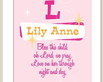 PERSONALIZED Prayer for Baby - pink girl art print