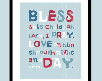 Bless This Child - Boy Prayer Art Print