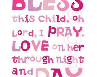 Pink Bless This Child prayer - Christian Word Art for girl's room