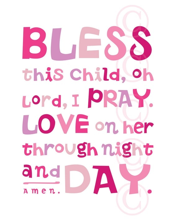 Items Similar To Pink Bless This Child Prayer Christian