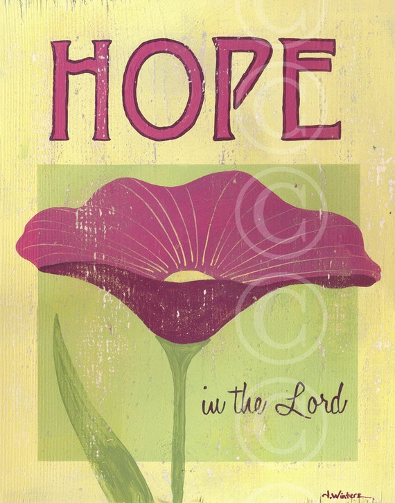 HOPE in the Lord - pink retro flower sign art print
