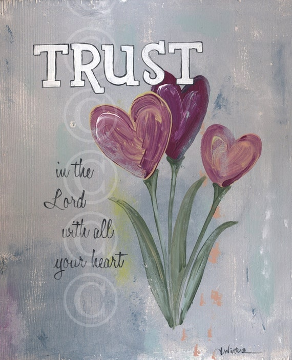Trust in the Lord with all your heart - word art print Proverbs 3:5