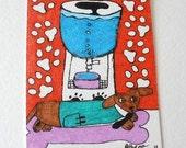 Dachshund Wiener Dog Art ACEO Office Water Cooler Original Drawing OOAK