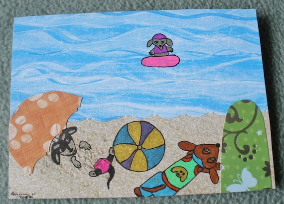 Cards Dachshund Wiener Dogs At The Beach Summer Collage 2 Cards With Envelopes