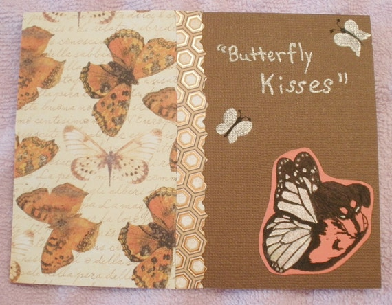 Butterfly Kisses Dachshund Card  Wiener Dog Collage Brown Card With Envelope