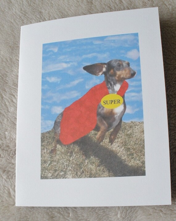Super Dachshund And Wiener Dog Card Set Of 2 Cards With Envelopes