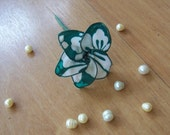 Green and White Flower Hair Pick