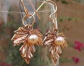 Copper leaves earrings