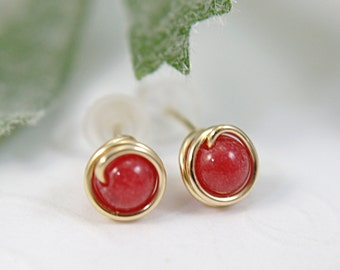 Tiny rose red mountain jade earrings 14k gold filled wire wrapped earrings red stud earrings red post earrings small second piercing 5mm