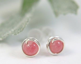 Tiny medium pink candy jade post earrings 925 sterling silver wire wrapped earrings pink gemstone earrings pink earrings second piercing 5mm
