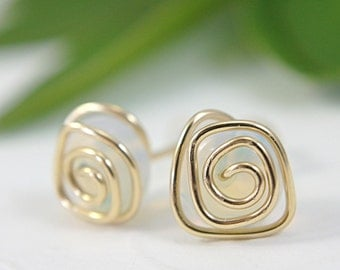 Sea opal glass post earrings stud earrings spiral swirl 14k gold filled wire wrapped opalite opalescent glass translucent medium size 10mm