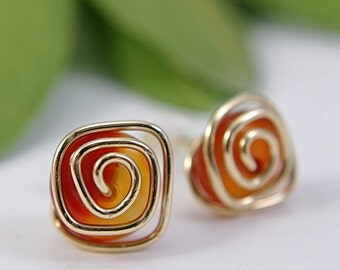 Red agate post earrings stud earrings spiral swirl 14k gold filled wire wrapped gemstone red orange fire amber minimalist modern medium size