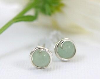 Tiny jade green post earrings 925 sterling silver wire wrapped earrings light green adventurine earrings mini earrings second piercing 5mm
