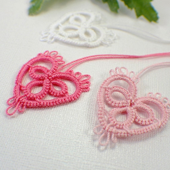 Pinks and white heart tatting motif embellishment applique lace