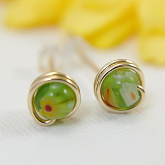 Tiny apple green millefiori glass post earrings gold filled jewelry small