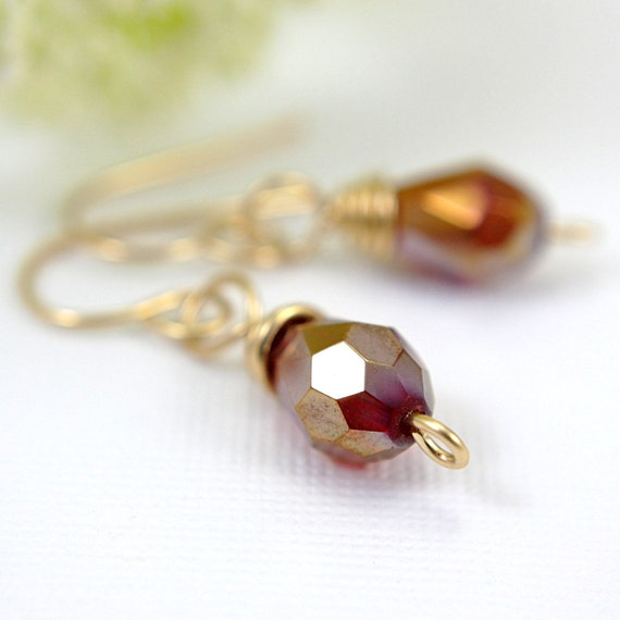 Red faceted teardrop earrings 14k gold filled red dangle earrings red teardrop earrings flame red ruby red fire red