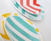 As Seen at 100 Layer Cake- Set of Two Striped Salad Plates- Spring Fling Aedriel Originals Dinnerware Collection