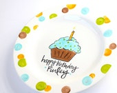 Happy Birthday Cupcake Plate- Personalized